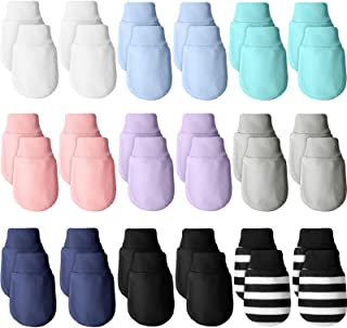 18 Pairs Newborn Infant Baby Mittens Unisex Toddler Cotton Gloves No Scratch Mittens for Baby 0-6 Months