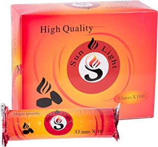 Sunlight High Quality Premium Hookah coal - 100 Coals Per Box, 10 Rolls of 100 Charcoal Tablets - 33mm