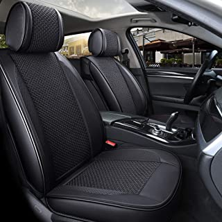 INCH EMPIRE 2 Front Car Seat Cover Center Knit Leatherette Car Seat Cushion Universal Fit for Kia Lexus Lincoln Mazda Mitsubishi Nissan Subaru Toyota Volvo VW-Easy Install (2 Front Black)