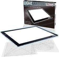 """عرضه محصولات هنری ایالات متحده Lightmaster 32.5 """"فوق العاده بزرگ (A2) 17"""" x24 """"چراغ جعبه تخته سیاه فوق العاده نازک 3/8"""" جعبه نور جعبه و 110V آداپتور برق LED قابل تنظیم با شبکه اندازه گیری پوشش و دایره الگو / زاویه سنج"""