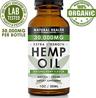 Hemp Oil 30,000mg - Premium Formula for Pain Relief, Anxiety, Depression & Stress - 950mg Per Serving x 30 Servings - Anti-Inflammatory Omega 3/6 – Organic & Non GMO – Hemp Flavor
