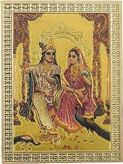Kaarigari Artifacts Radha Krishna Fridge Magnet/Multipurpose Magnet (Gold Finish)