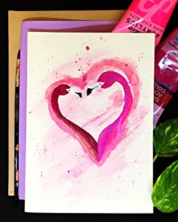 Love Cards, Flamingo couple with Heart, Self Design, All painted by hands, Acrylic Original Art on Light-Yellow Hard paper, None is the same, size 21 cm x 15 cm (A5) - 8.2