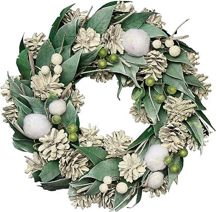 彩か SAIKA リース M インテリア用玄関飾り グリーン ナチュラル CXO-353Mgr Wreath-Snow Fairy M (Green)