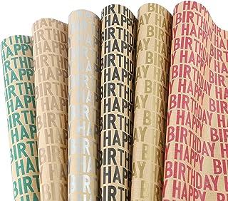 Lausatek Papier D'Emballage Kraft Pour Anniversaire, 6 Feuilles De Papier D'Emballage Cadeau Recyclé Brun, Plié, Lettre D'...
