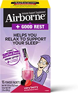 Vitamin C 1000mg (per serving) + L-Theanine - Airborne Good Rest Very Berry Powder Packet (16 count in box), Immune Suppor...