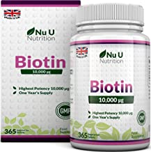 Biotin Hair Growth Supplement | 365 Tablets (Full Year Supply) | Biotin 10,000MCG by Nu U Nutrition