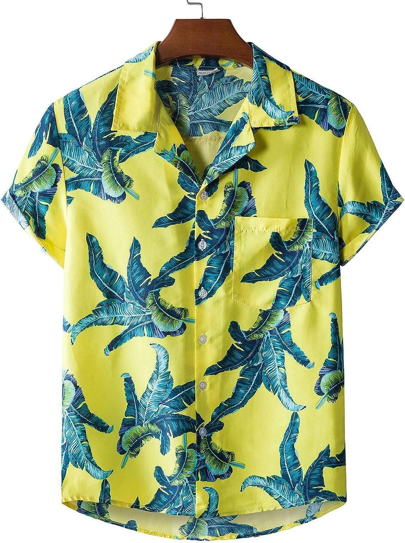 Mens Tropical Floral Hawaiian Shirts Summer Short Sleeve Beach Shirt Casual Regular Fit Button Up Shirts