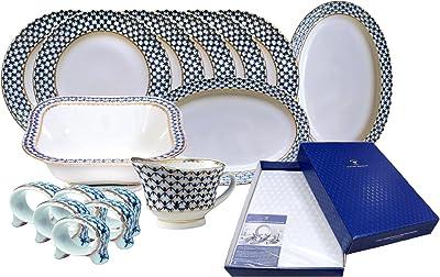 Lomonosov Imperial Porcelain Dinner Set eith Tablecloth Cobalt Net 23 Items