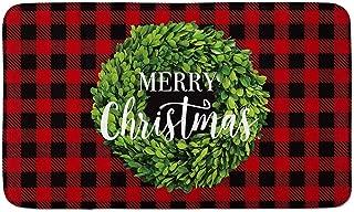 AVOIN Buffalo Plaid Merry Christmas Boxwood Wreath Decorative Doormat, 18 x 30 Inch Winter Holiday Non-Skid Floor Mat Switch Mat Indoor Outdoor Home Garden