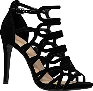 55e8ebc7cf7 MVE Shoes Women s Open Toe Cutout Design Comfortable High Heels Stiletto  Dress Sandals