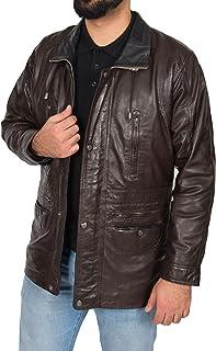 Mens Real Black Leather Parka Car Coat Classic Winter Overcoat Zip Up Jacket NEW