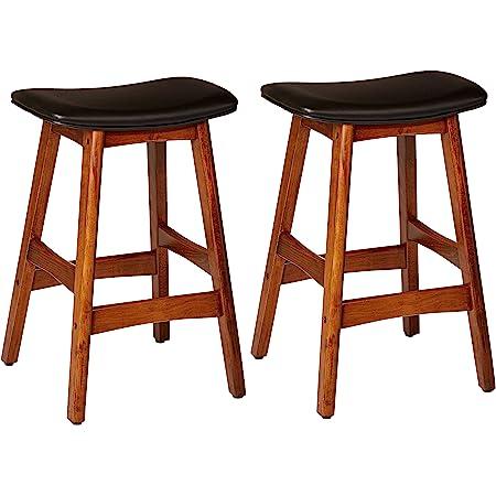 Amazon Com Homelegance Poindexter Pu Upholstered Saddle Barstool Set Of 2 Black Furniture Decor