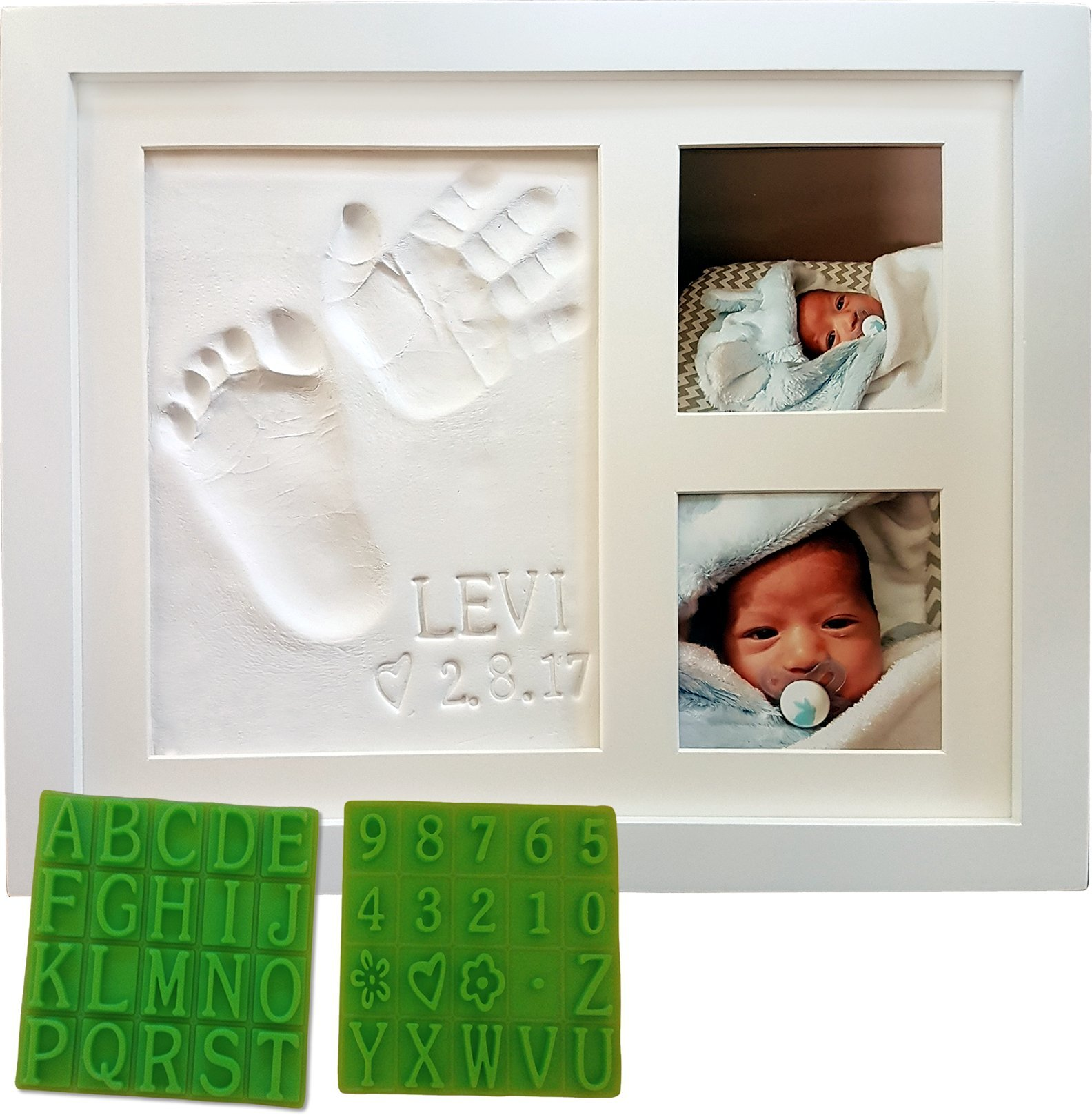 Personalized Baby Handprint u0026 Footprint Keepsake Photo Frame Kit - Bonus Stencil Kit Non-  sc 1 st  Amazon.com & Keepsake Gifts for Mom: Amazon.com