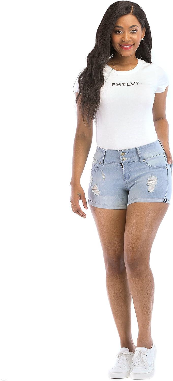 POPTIME Women's Distress Ripped Elastic Denim Pants bluee Shorts Jeans