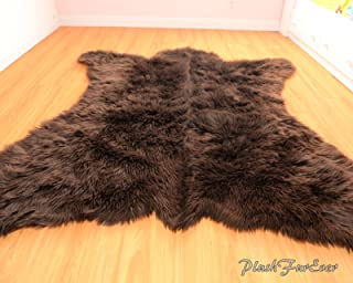 SC Love Collections Faux Fur Rug Bearskin Brown Grizzly Accent Area Shaggy Rug 5' X 6' or 60