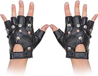 Skeleteen Gothic Fingerless Biker Gloves - 80s Style...