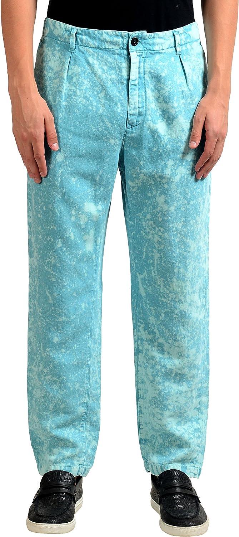 Just Cavalli Men's Linen Faded Blue Casual Pants US 32 IT 48