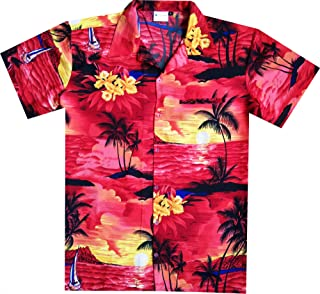 Virgin Crafts Hawaiian Shirt for Mens Short Sleeve Small Palm Print Casual Fashion Beach Shirt