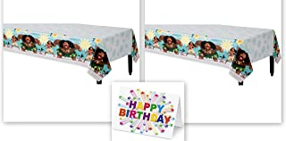 Moana Disney Hawaii Beach Party Tablecover Tablecloth Birthday Party Supplies (2-Pack) Plus Birthday Card