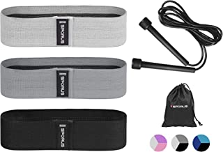 Sporus Fabric Resistance Exercise Bands 3 Set Plus 1 Jump Rope, Non-Slip and Non-Curling Wide Workout Bands for Legs Arms ...