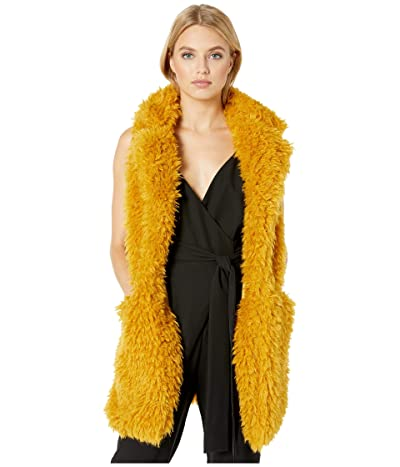 Betsey Johnson Faux Fur Shaggy Chic Vest (Mustard) Women