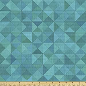 Ambesonne Teal Fabric by The Yard, Geometrical Shapes Triangles Squares Modern Abstract Art Different Shades of Blue, Decorative Fabric for Upholstery and Home Accents, 1 Yard, Turquoise Aqua