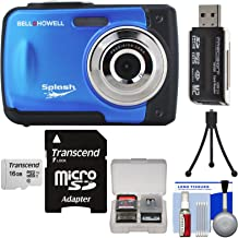 Bell & Howell Splash WP10 Shock & Waterproof Digital Camera (Blue) with 16GB Card + Tripod + Reader + Kit
