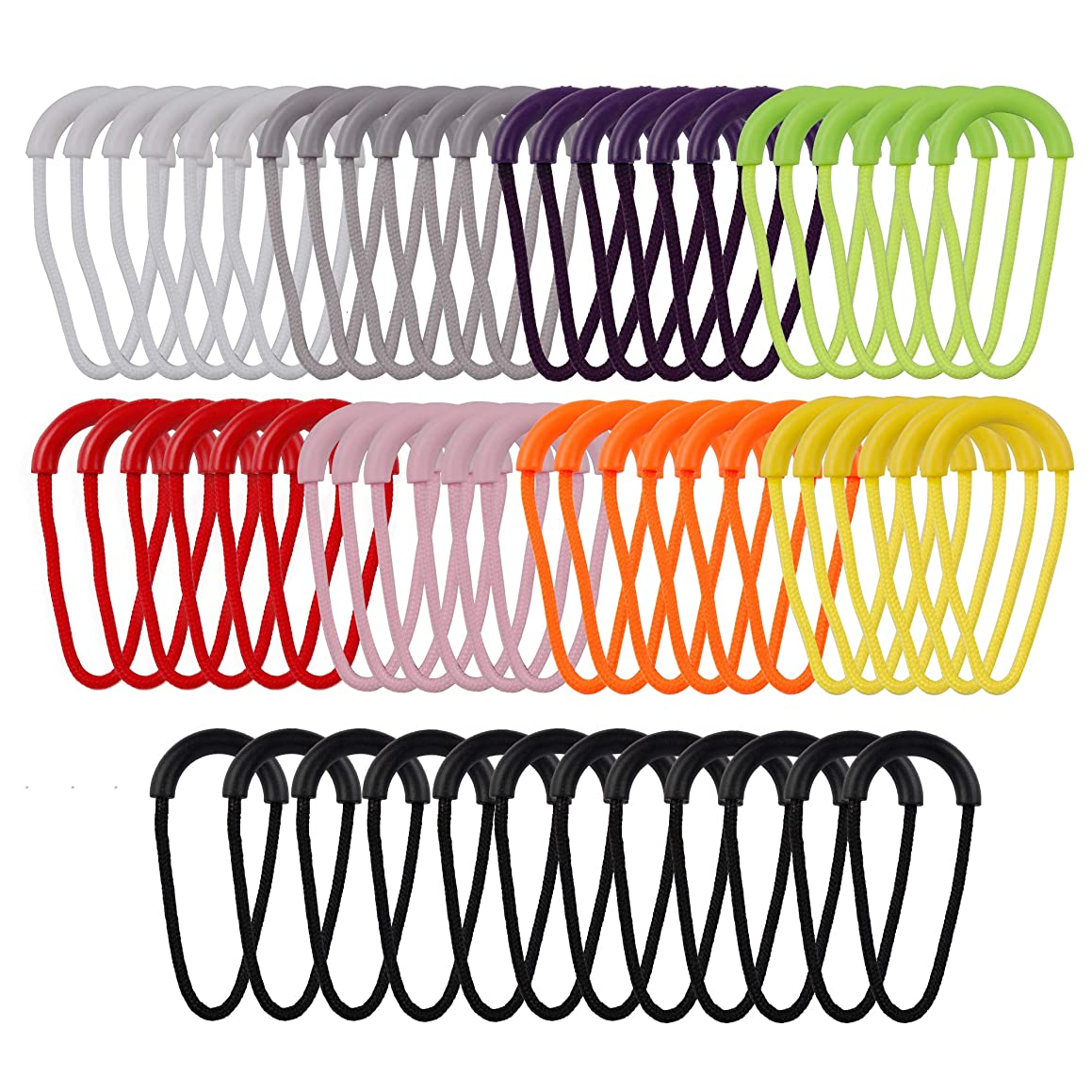 HUIHUIBAO 60 Pieces Heavy Duty U Shape Nylon Zipper Pulls Cord Extension Replacement for Backpacks, Jackets, Traveling Cases, Luggage, Purses, Handbags, 9 Colors