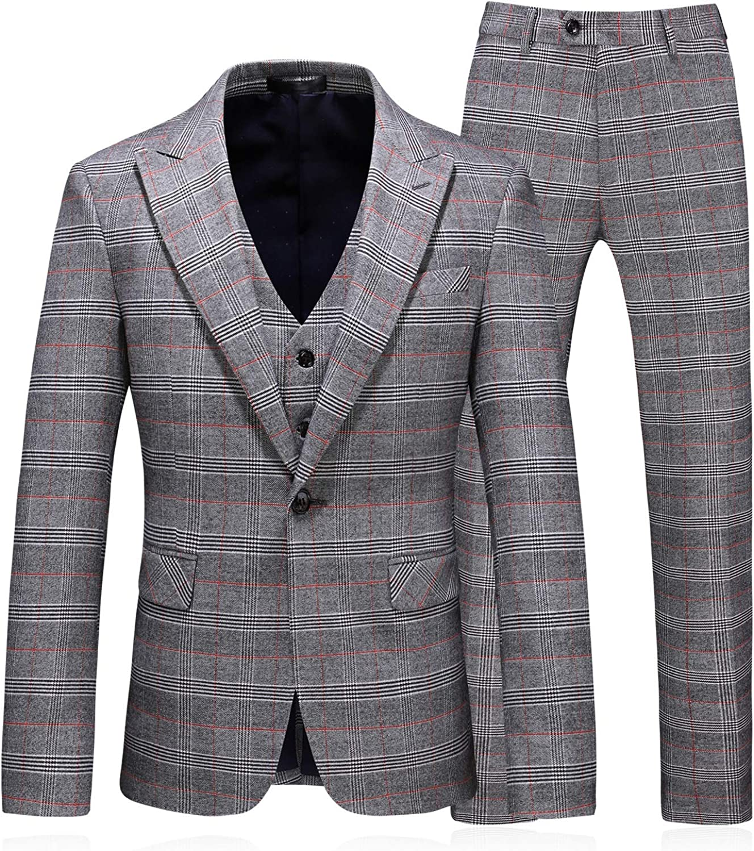 MOGU Mens Plaid Suits Sim Fit 3 Piece Prom Tuxedo Check Blazer & Waistcoat & Pants