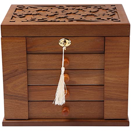 4 drawers and 1 door for Necklaces Wood Jewelry Box Brown Stain finish