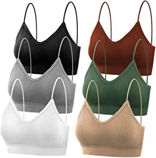 Padded Bralettes for Women, 6 Pcs Sports Bras for Women Pack, V Neck Cami Bando Bra for Women Girls