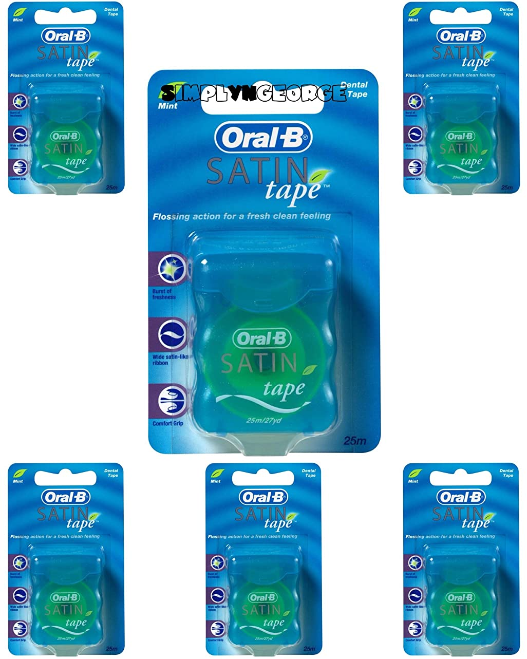 病気の疫病かわいらしいOral-B Statin Tape Dental Floss 25m (6 Units) by Oral-B Satin Tape Mint