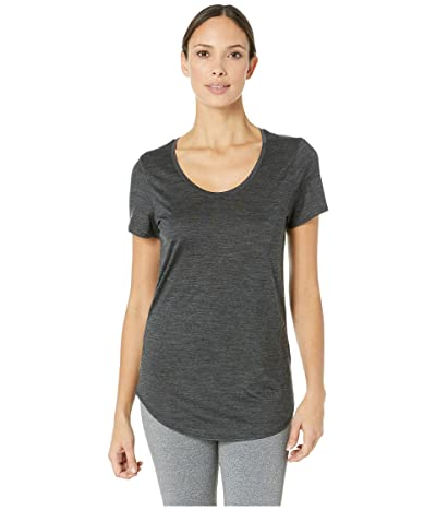 Icebreaker Solace Merino Short Sleeve Scoop (Black Heather) Women