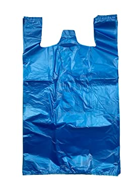 ROYAL 7 200CT Jumbo/Extra Large Plastic Grocery Reusable T-shirts Carry-out 19x10x32 Bags (BLUE, 200)