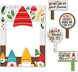 Big Dot of Happiness Garden Gnomes - Forest Gnome Party Selfie Photo Booth Picture Frame and Props - Printed on Sturdy Material