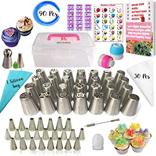 RFAQK- 90 Pcs Russian piping tips set with storage case - Cake decorating supplies kit - 54 Numbered easy to use icing nozzles (28 Russian + 25 Icing + 1 Ball tip) - Pattern chart, Ebook User Guide