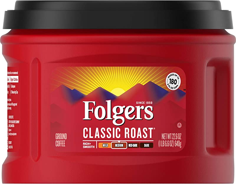 Folgers Classic Roast Ground Coffee Medium Roast 22 6 Ounce 3 Count Packaging May Vary