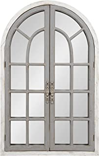 Kate and Laurel Boldmere Large Traditional Wood Windowpane Arch Mirror, 28x44, Gray and White