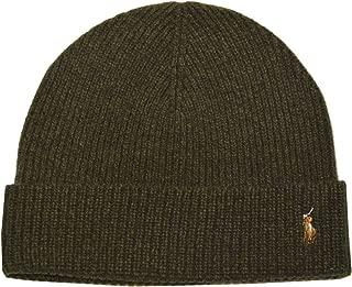 Unisex Merino Wool Cuff Olive Green Beanie Hat One Size