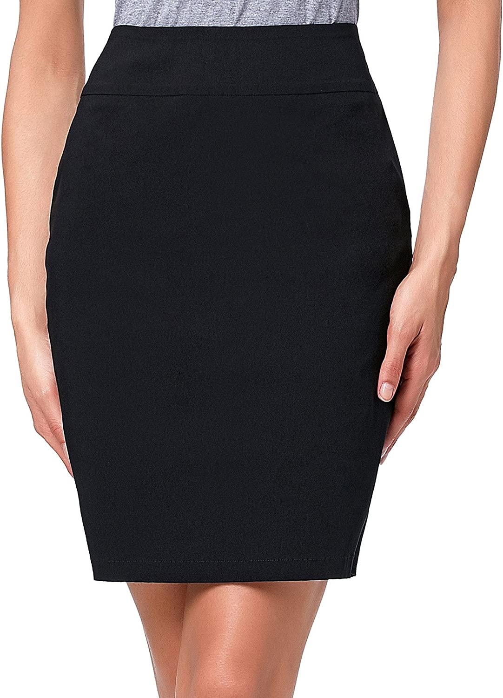 Kate Kasin Women's Knee Length Pencil Skirts Slim Fit Business Skirt