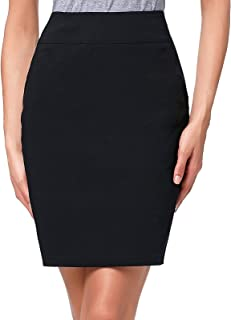 Kate Kasin Women's Stretchy Cotton Pencil Skirt Slim Fit Business Skirt KK269