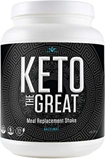Keto Meal Replacement Shake - Low Calorie and Low Carb Keto Diet Protein Powder Shake with Plant Proteins Including Pea and Brown Rice Protein, BHB and MCT Ketones, Hazlenut Coffee, 1 Pound