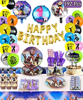 Video Game Party Supplies Decorations - for 16 Guests Birthday Party Favor for Boys , Includes Flatware, Spoons, Plates, Cups, Straws, Table Cover, Invitation Cards, Balloons,Cake Topper Tower,Banner