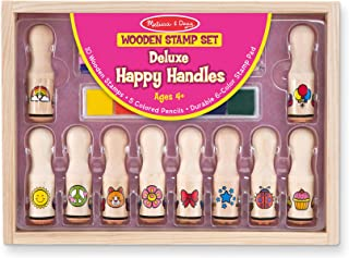 Melissa & Doug Deluxe Happy Handle Stamp Set (10 Stamps, 5 Colored Pencils, and 6-Color Washable Ink Pad)