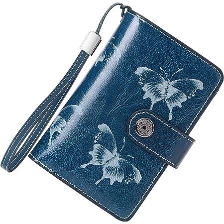 Cartera Mujer Mediana Bloqueo RFID Billeteras Mujer Piel Autentica con Cremallera, Gran Capacidad Billetera Monedero Mujer con Portafoto, Carteras Elegante Mujer 13 Tarjetas (Mariposa Azul)