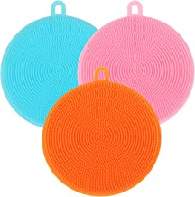 TRIXES Pack of 3 Multipurpose Silicone Scrubbing Pads Bathroom Kitchen Cleaning