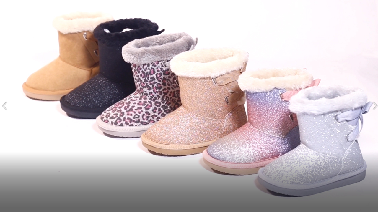KRABOR Girls Glitter Snow Boots Cotton Lining Warm Winter Non-Slip Shoes with Cute Bow for Toddlers/Little Kid