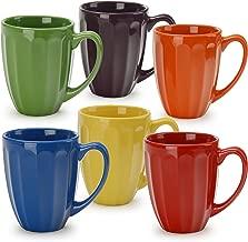 Signature Housewares Fluted Mugs, Assorted (Set of 6), Multicolor