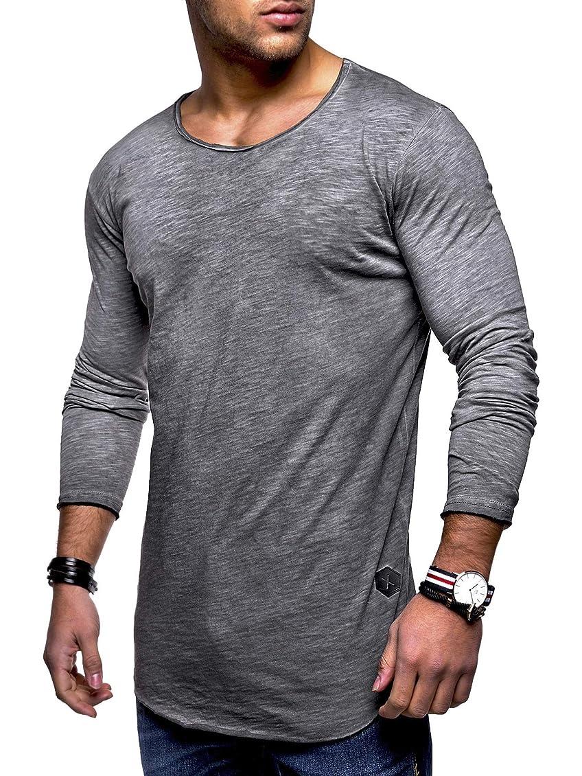 懐犯人オレンジ[Limore(リモア)] 薄手 ラウンド ネック ロンT カジュアル Tシャツ 長袖 カットソー スリム フィット メンズ